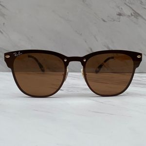 😎 Ray-Ban Blaze Clubmaster Gold Brown RB3576N